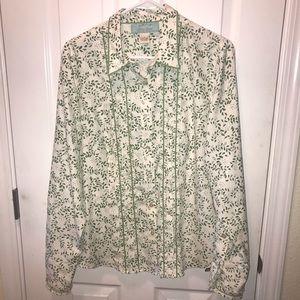 Orvis Silk River Road button down blouse L ruffles